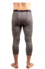 Back of model wearing Agent 3/4-length pant in color Ash