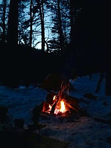 Winter Camping and campfire Allegheny Front Trail Moshannon State Forest PA