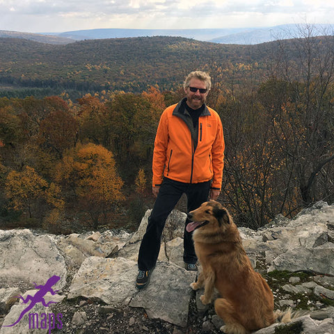 Michael Hermann Purple Lizard Founder and Lead Cartographer with Karma the Adventure Dog