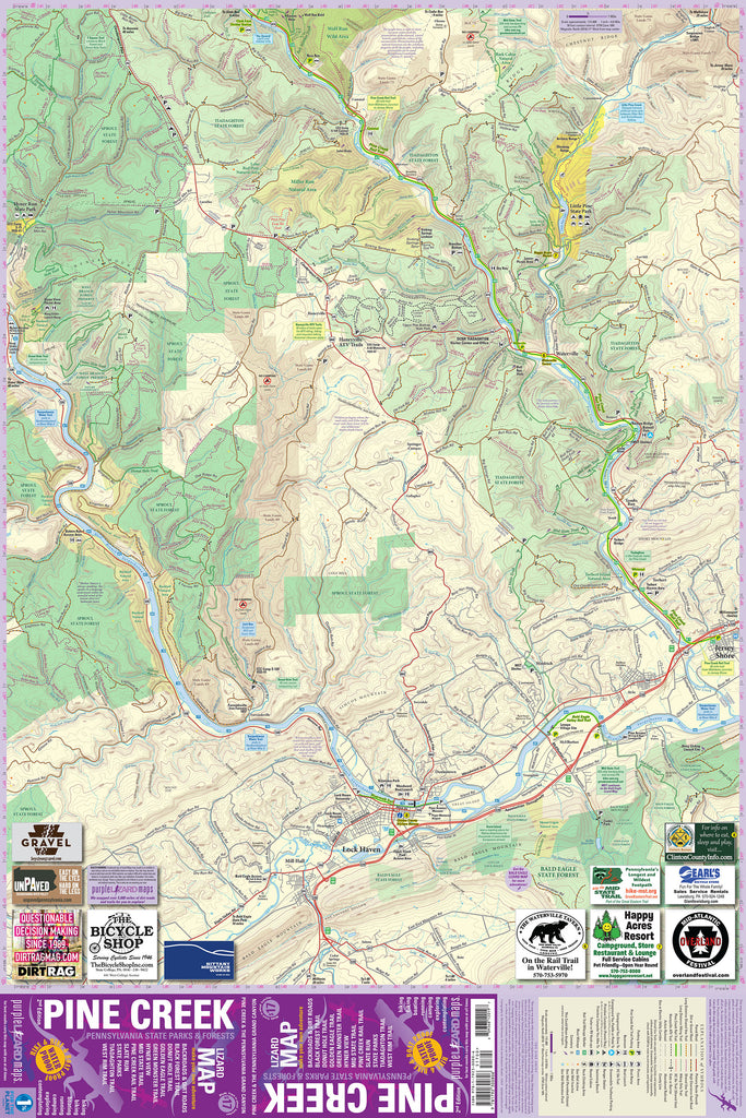 Pine Creek Lizard Map - Grand Canyon of Pennsylvania