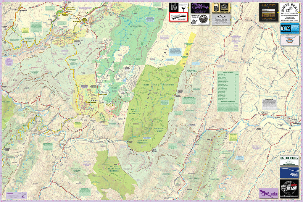Dolly Sods-Seneca Rocks Lizard Map: West Virginia