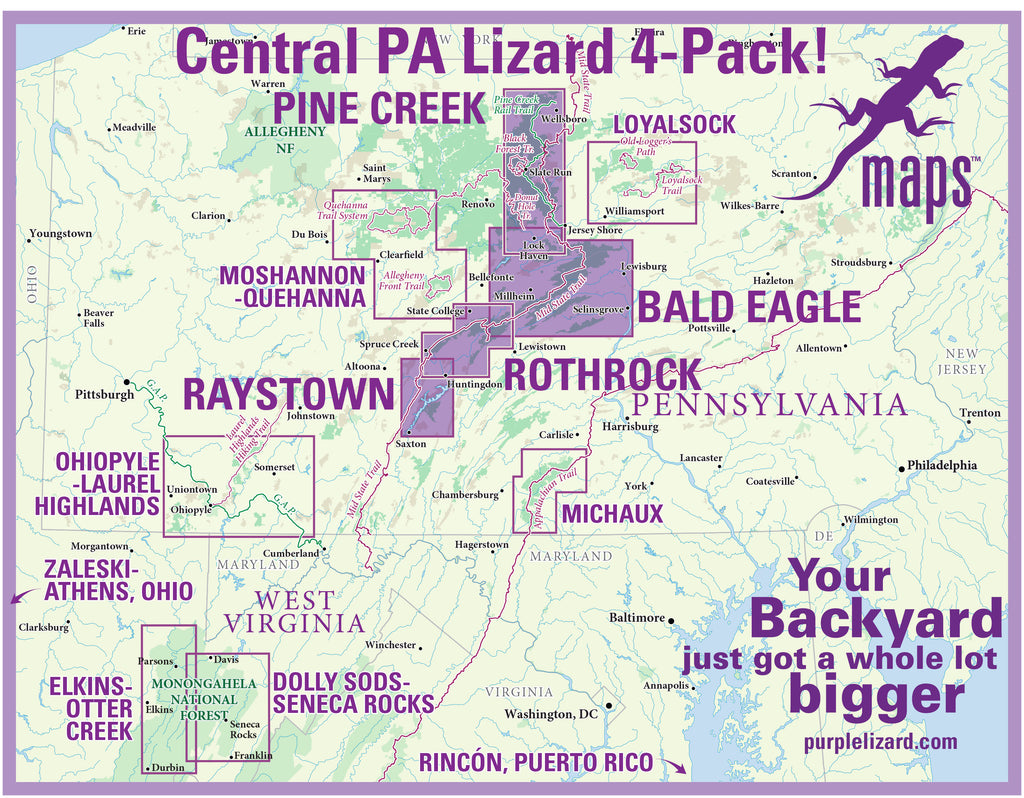 Central PA Lizard 4-Pack: Pine Creek, Bald Eagle, Rothrock and Raystown Lizard Maps