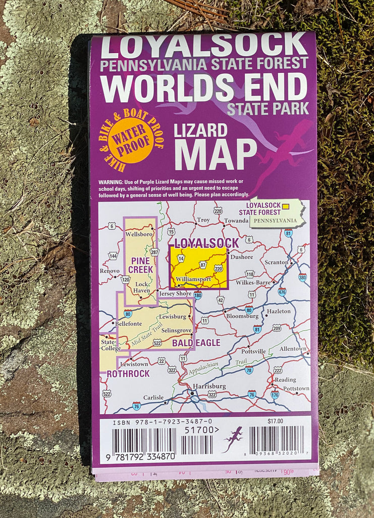 Loyalsock-Worlds End Lizard Map, Pennsylvania