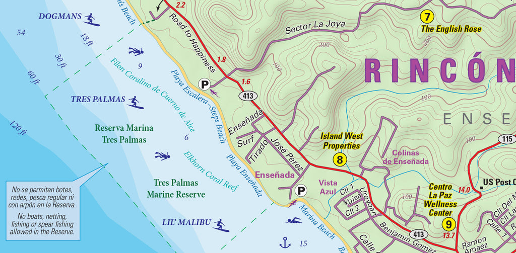 Rincon, Puerto Rico, detailed Purple Lizard Map and Guide Surf breaks, beach info and more
