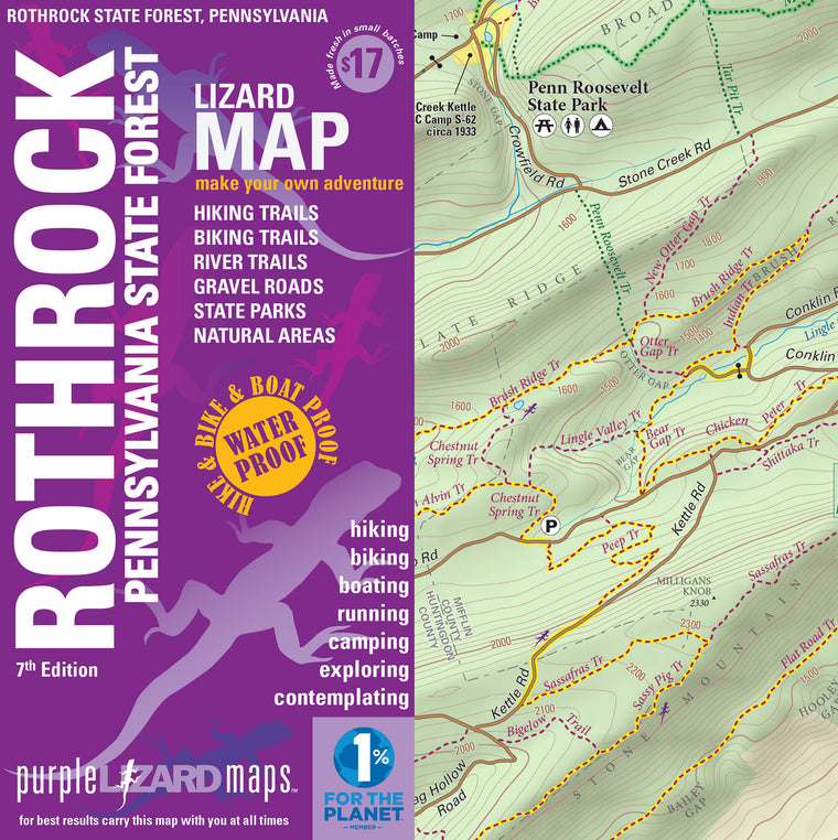 Rothrock Lizard Map 7th Edition, Pennsylvania