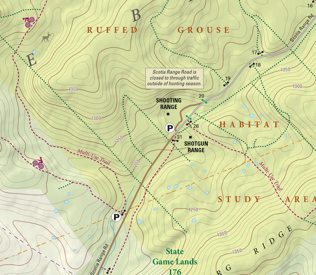 Scotia Game Lands Trails and History Map, PA