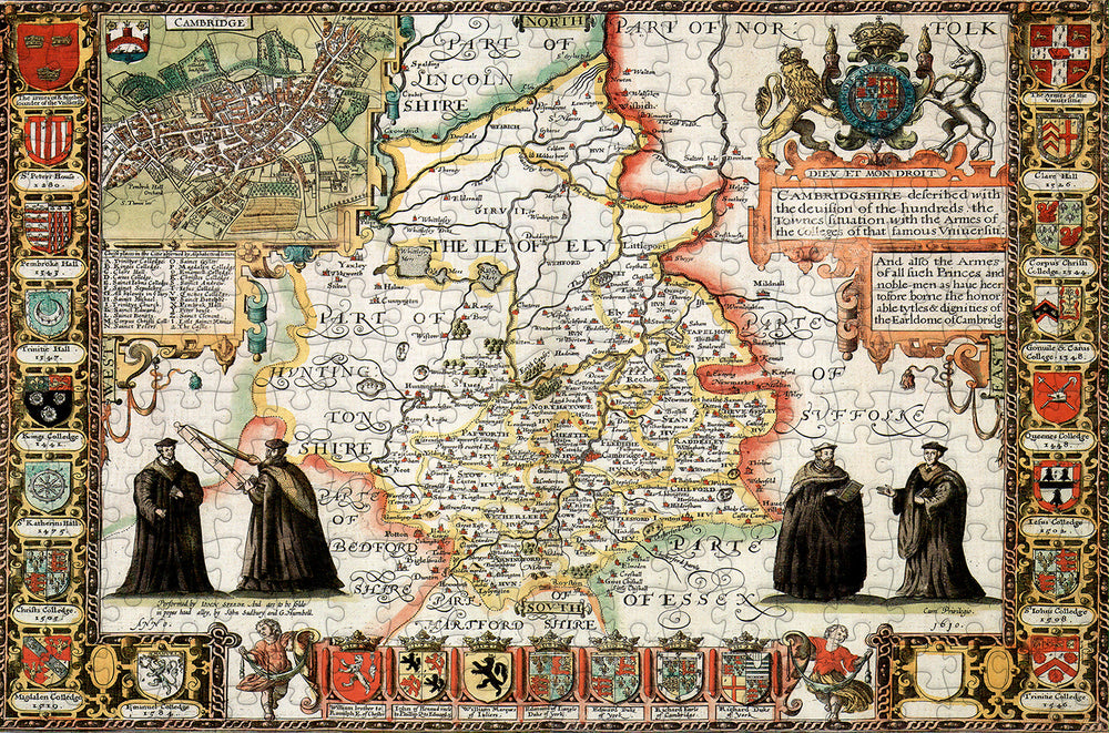 Cambridgeshire 1610 Historical Map 300 Piece Wooden Jigsaw Puzzle