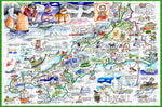 Map of Cornwall - Tim Bulmer - 300 Piece Wooden Jigsaw Puzzle