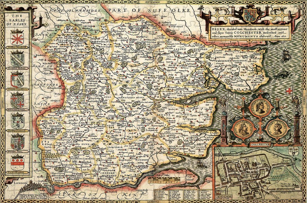 Essex 1610 Historical Map 300 Piece Wooden Jigsaw Puzzle