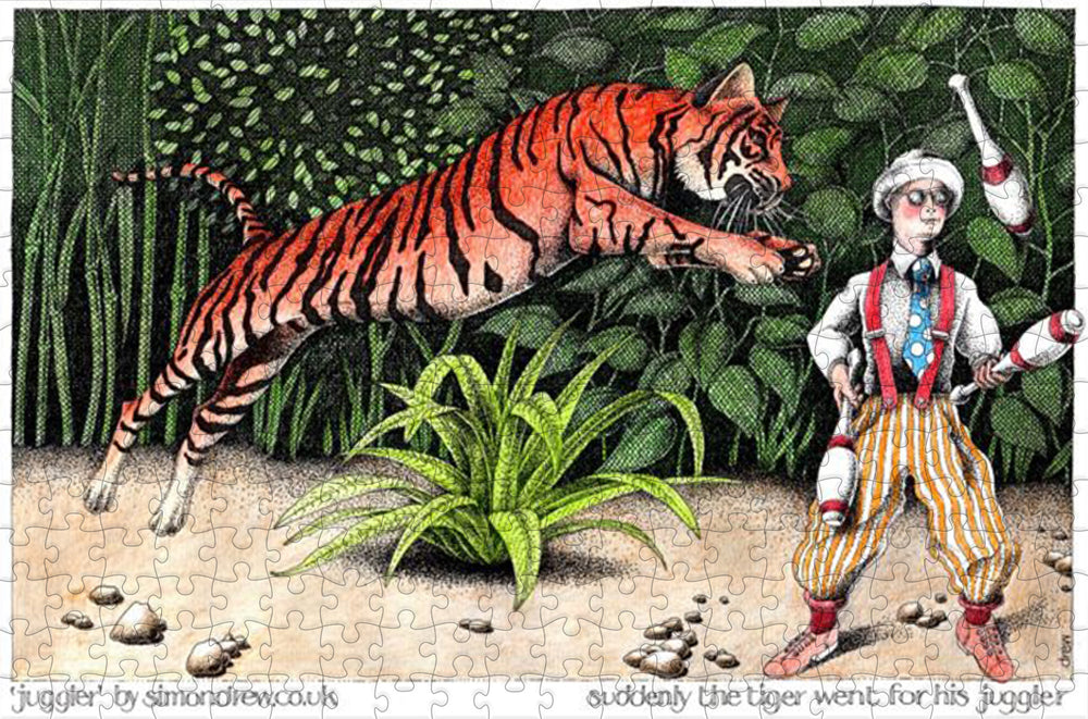 Suddenly the Tiger Went For His Juggler - Simon Drew Designs - 300 Piece Wooden Jigsaw Puzzle