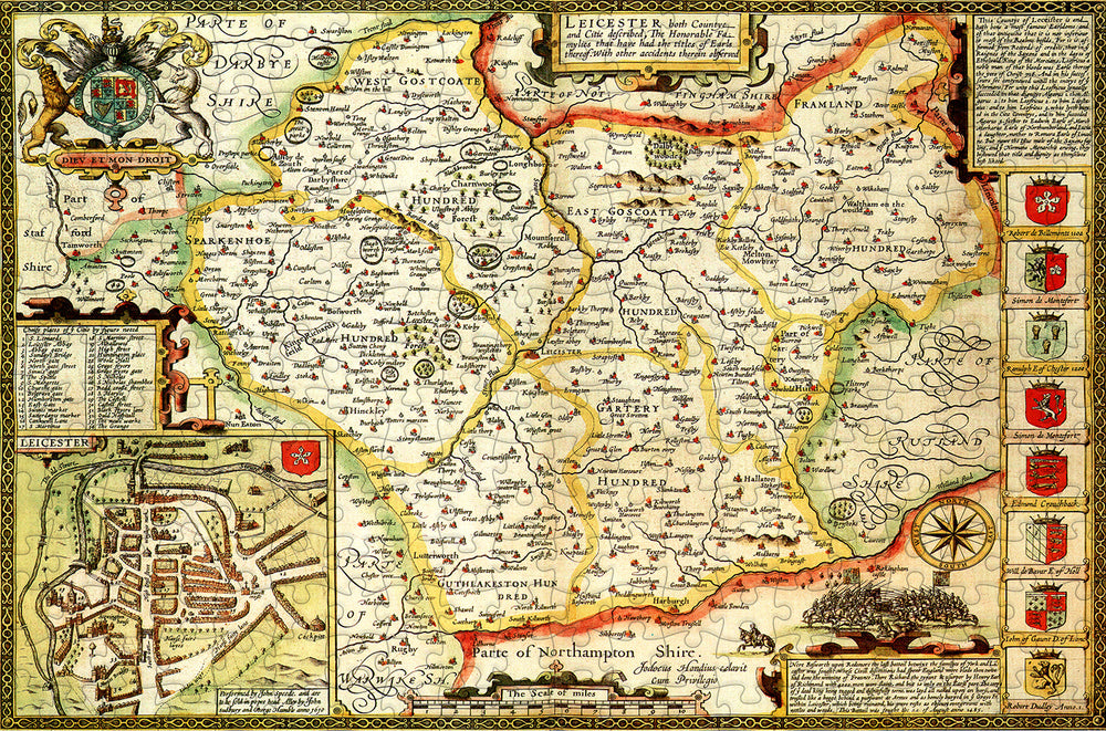 Leicestershire 1610 Historical Map 300 Piece Wooden Jigsaw Puzzle