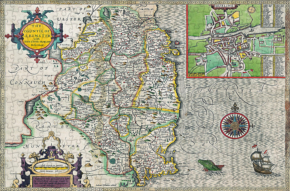 Leinster 1610 Historical Map 300 Piece Wooden Jigsaw Puzzle