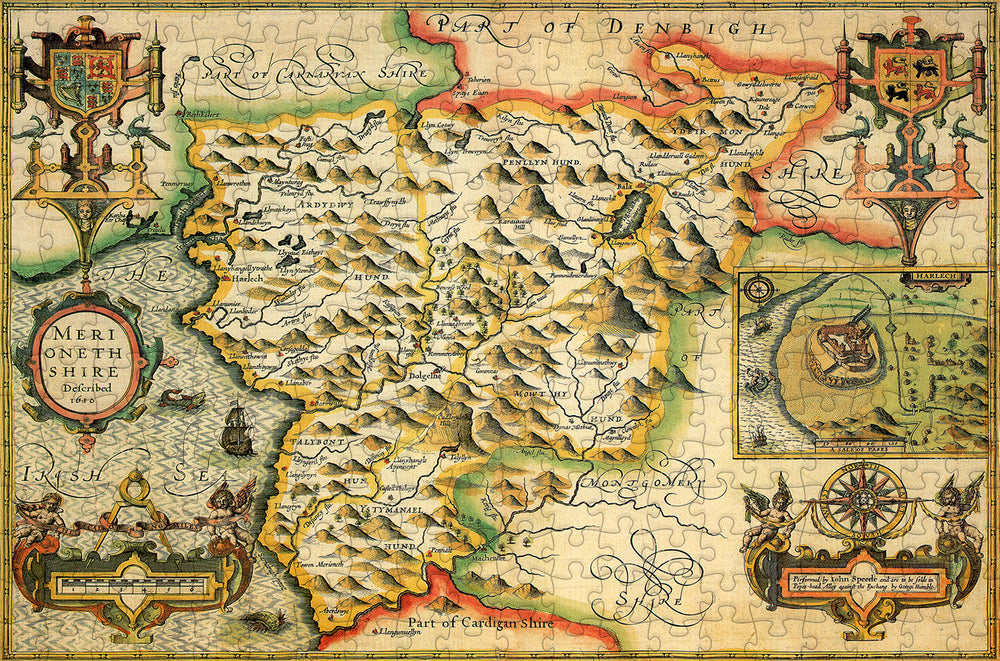 Merionethshire 1610 Historical Map 300 Piece Wooden Jigsaw Puzzle