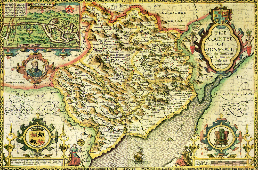 Monmouthshire 1610 Historical Map 300 Piece Wooden Jigsaw Puzzle