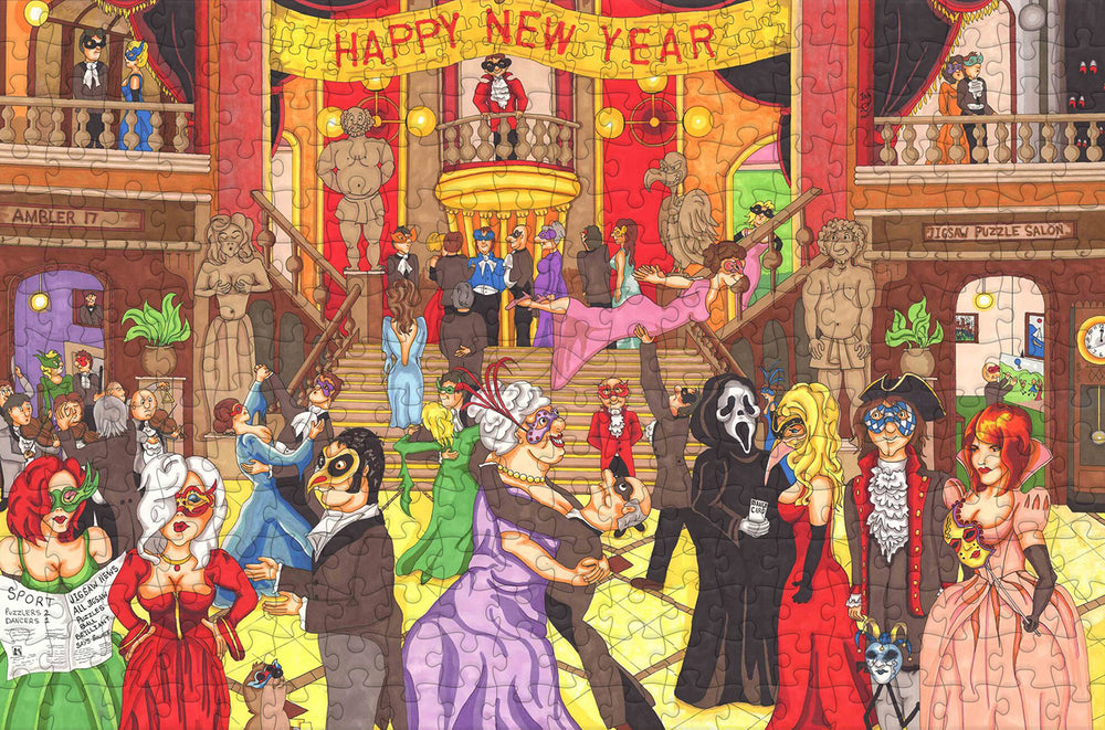New Year's Eve Ball - Ambler Cartoon Collection 300 Piece Wooden Jigsaw Puzzle