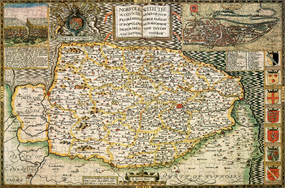 Norfolk 1610 Historical Map 300 Piece Wooden Jigsaw Puzzle