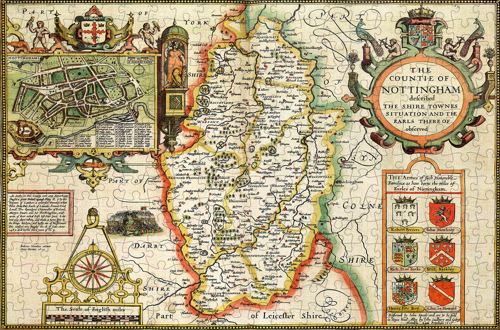 Nottinghamshire 1610 Historical Map 300 Piece Wooden Jigsaw Puzzle