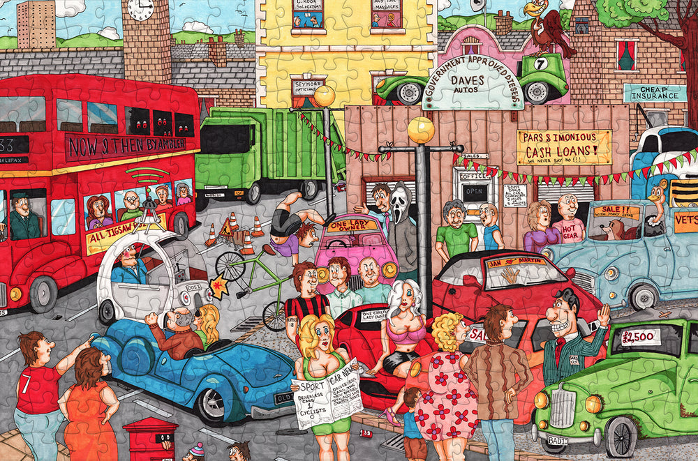 A Question of Cars - Ambler Cartoon Collection 300 Piece Wooden Jigsaw Puzzle