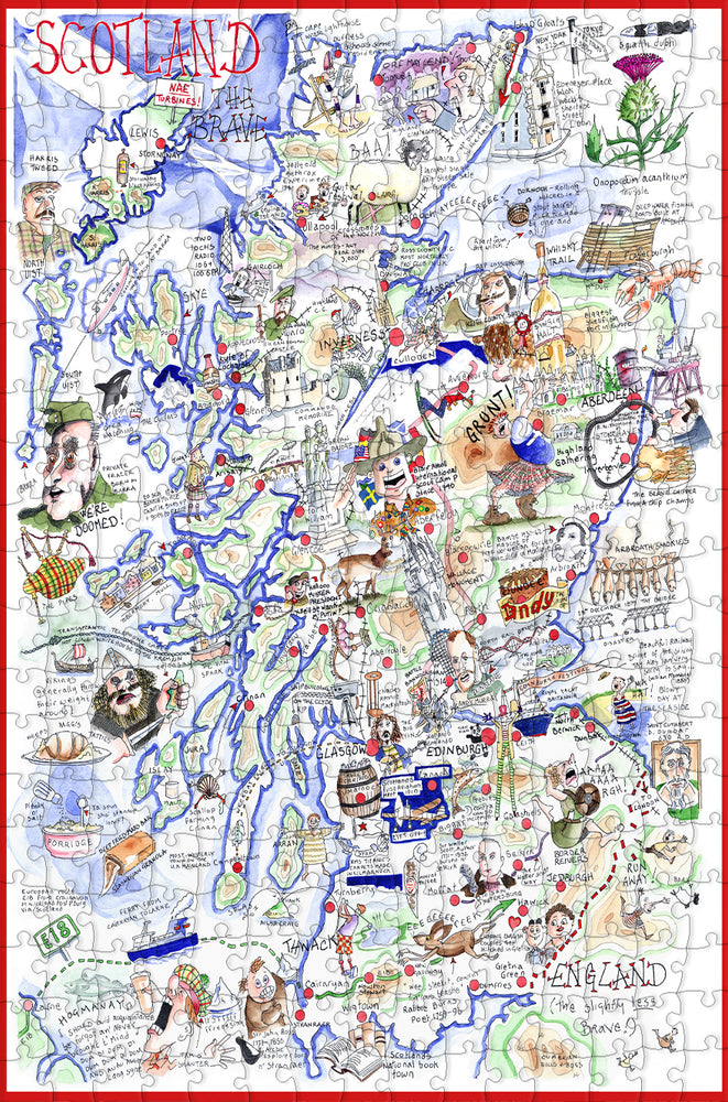 Map of Scotland - Tim Bulmer - 300 Piece Wooden Jigsaw Puzzle