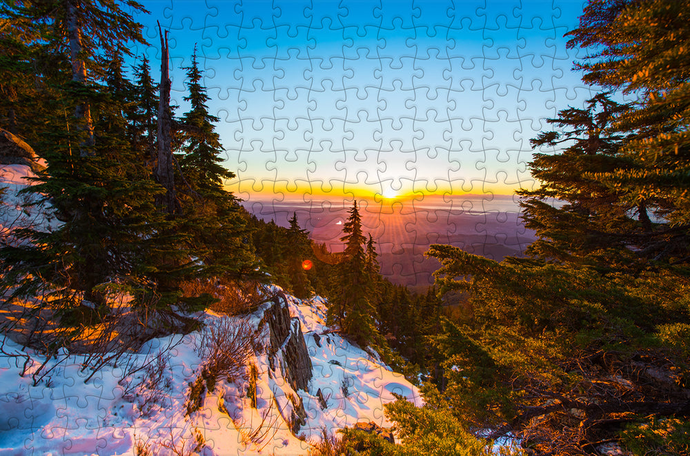 Sunset in the Snowy Forest - 300 Piece Wooden Jigsaw Puzzle