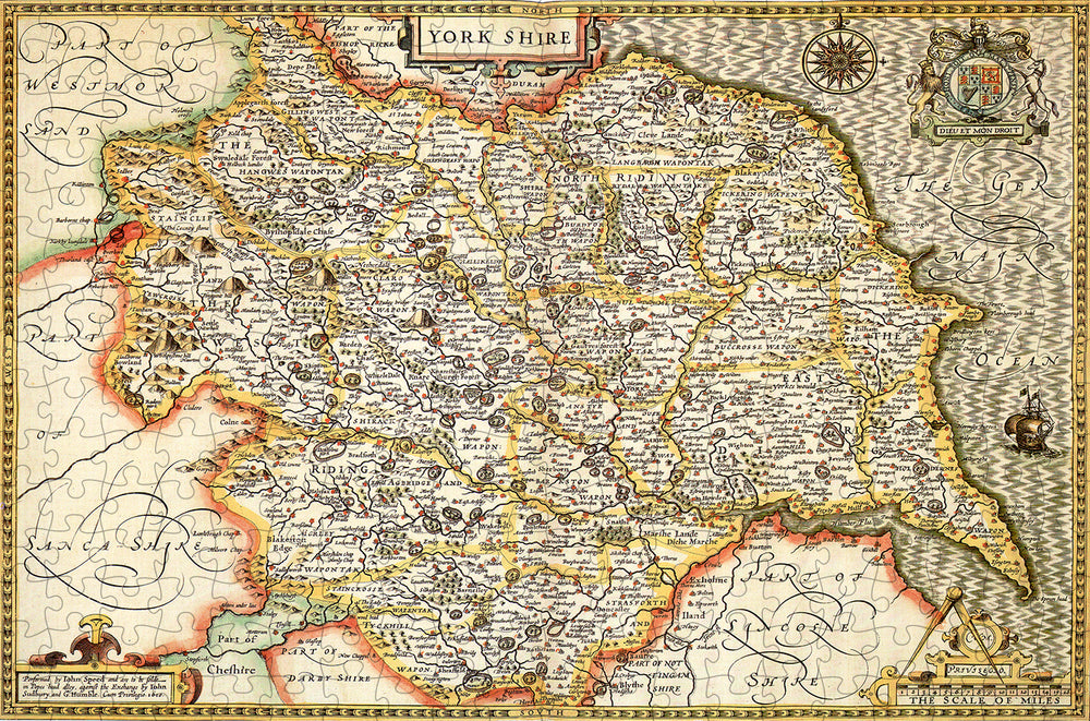 Yorkshire 1610 Historical Map 300 Piece Wooden Jigsaw Puzzle