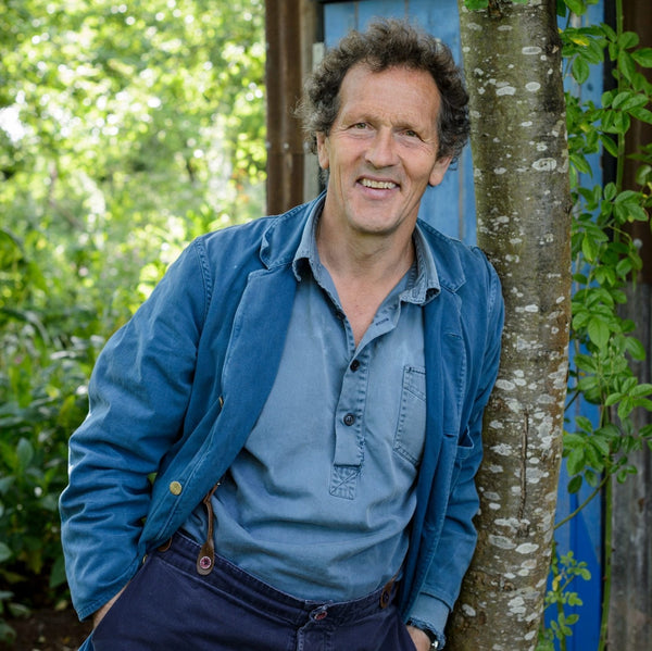 Monty Don from Gardener's World leaning against a tree