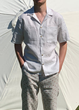 Linen Shirt with Cuban Collar