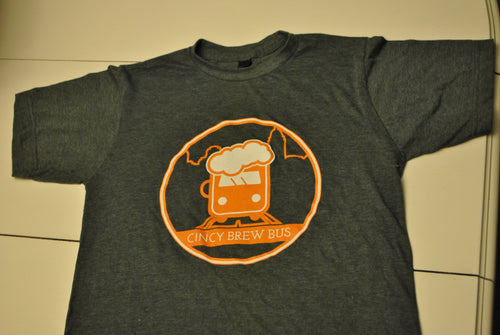 Cincy Brew Bus Short Sleeve T-Shirt- Charcoal Grey and Royal Blue