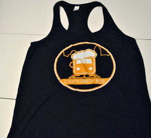 Cincy Brew Bus Women's Tank Top (Black with Orange Lettering)