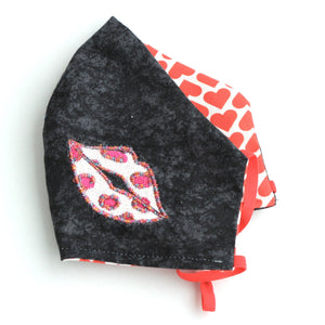Embroidered Lips with Heart Pattern Facemask