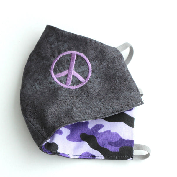 Purple Embroidered Peace Sign on Gray Fabric with Purple Camouflage on reverse Facemask
