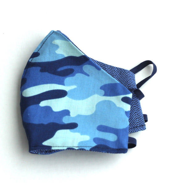 Blue Camouflage and blue stripe Facemask