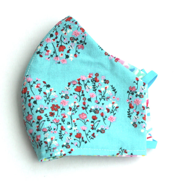 Mini Flowers in Heart Shape on Turquoise Facemask