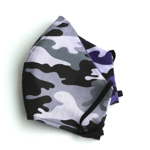 Camouflage Gray and Lavender with reverse Purple Black FaceMask