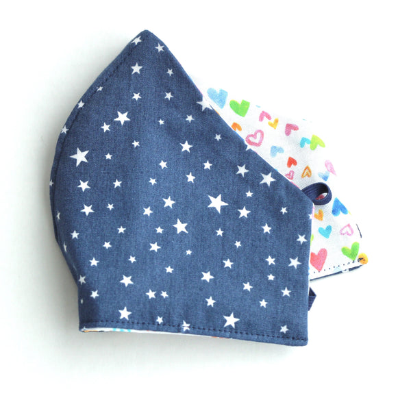 Blue and White Stars with Mini Pink Hearts FaceMask
