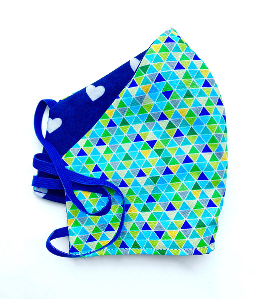 Navy White Hearts TurquoiseCool Triangles FaceMask