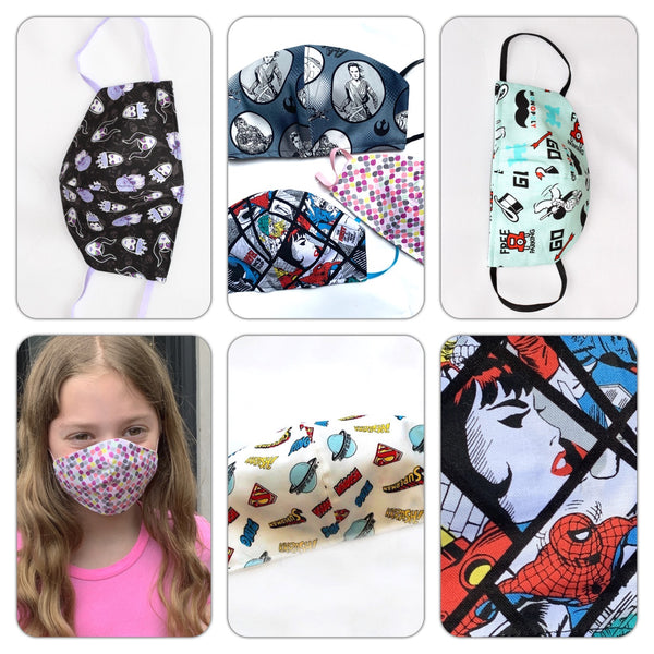 Kids Facemasks 3-5yrs, 6-12yrs TWO SIZES