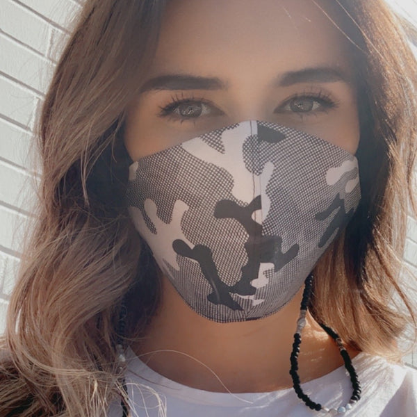 Camouflage Pattern Taupe Black Cream FaceMask