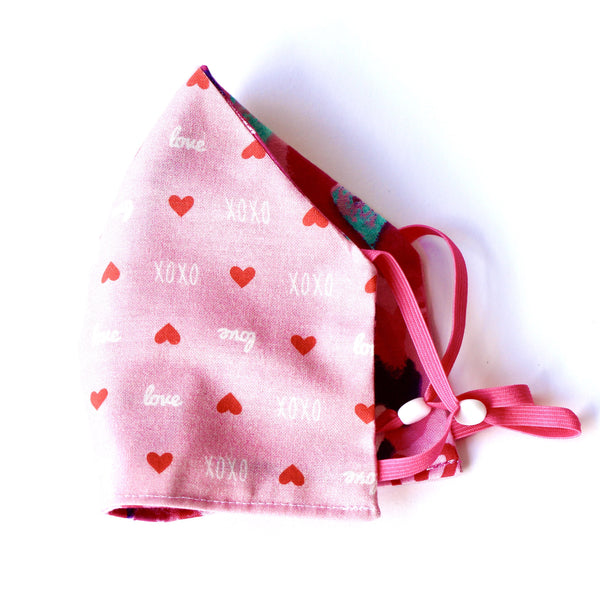 Mini Heart Red, XOXO Print Hearts FaceMask