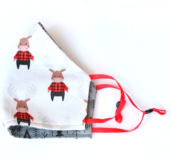 Modern Reindeer on White with Tree reversible Pattern FaceMask