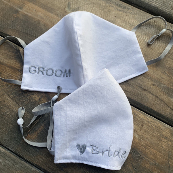 Bridal Embroidered FaceMasks White on White