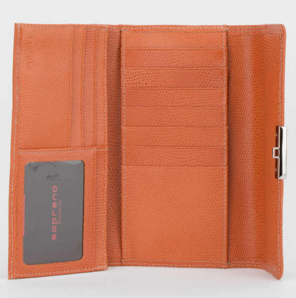 Leather Push Lock Long Wallet / 2 colours