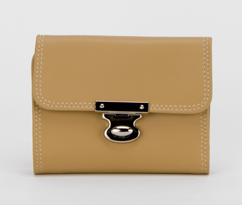 Leather Push Lock Wallet / 2 colours