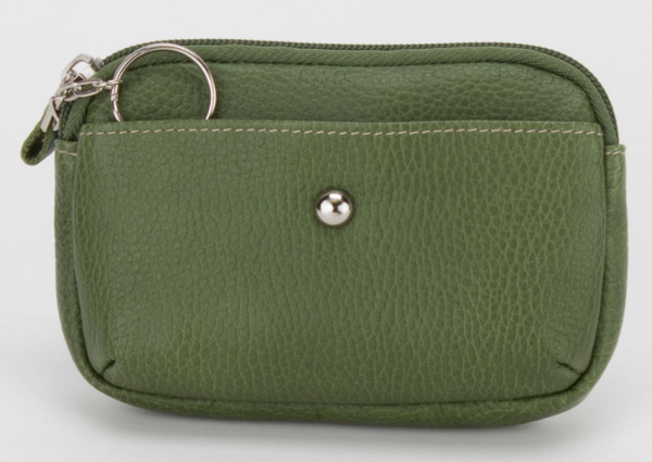 Leather Zip Key Coin Pouch / 3 Colours