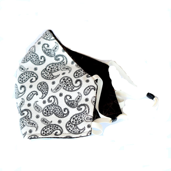 White and Black Paisley FaceMask