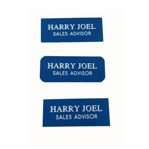 Engraved Sapphire Blue Name Badges