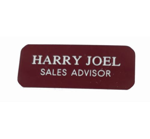 Engraved Burgundy  Name Badges