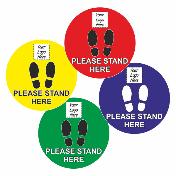 Please stand here floor signage stickers (12 Pack)