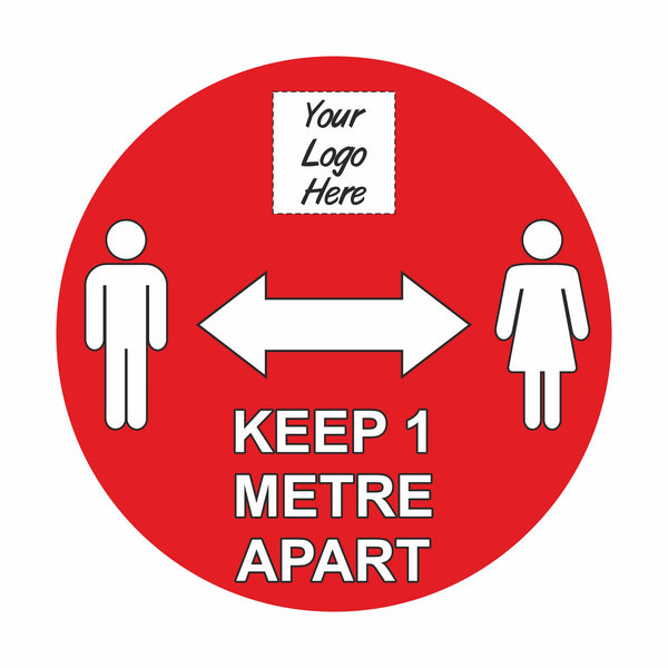 Social Distancing Floor Signage Stickers - 1 Metre Messaging (12 Pack)