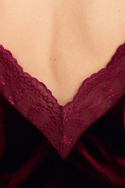 Top Velvet lace Red wine